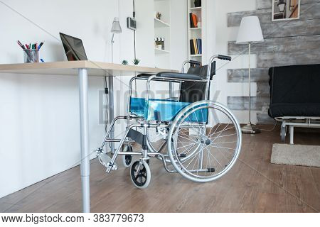 Wheelchair For Sick Patient With Mobility Handicap In Empty Room. No Patient In The Room In The Priv