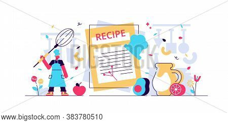 Recipes Vector Illustration. Flat Tiny Chef Write Ingredients List Concept. Kitchen Cooking Book Wit