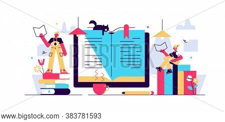 Reading Vector Illustration. Flat Tiny Paper Book Text Study Persons Concept. Abstract Knowledge And