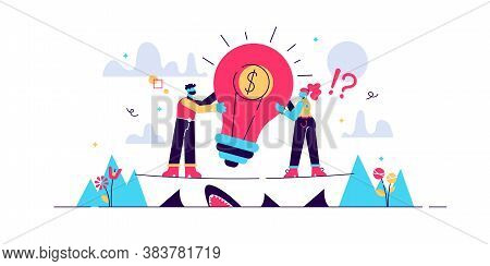 Venture Capital Vector Illustration. Flat Tiny Investment Persons Concept. Risky Business With Huge