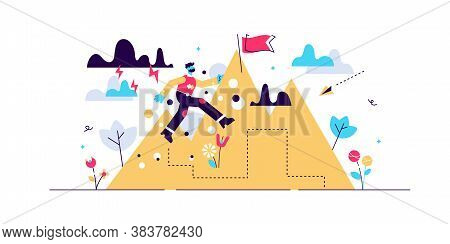 Perseverance Vector Illustration. Flat Tiny Motivational Patience Persons Concept. Challenge To Neve