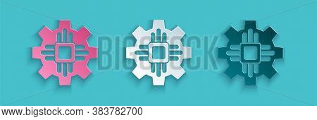 Paper Cut Processor Icon Isolated On Blue Background. Cpu, Central Processing Unit, Microchip, Micro
