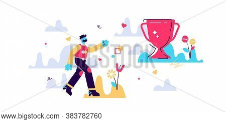 Believe Behavior Vector Illustration. Flat Tiny Follow Your Dreams Persons Concept. Future Confidenc