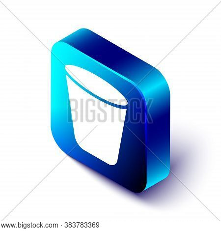 Isometric Trash Can Icon Isolated On White Background. Garbage Bin Sign. Recycle Basket Icon. Office