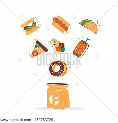 Cooking Collection Background Fast Food. Fast Food Hamburger Dinner And Restaurant, Tasty Set Fast F