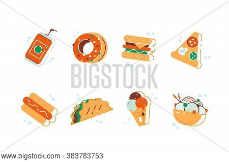 Set Of Colorful Cartoon Fast Food Icons. Fast Food Hamburger Dinner And Restaurant, Tasty Set Fast F