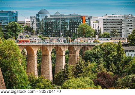 Luxembourg, Luxembourg - June 17, 2015: Old Bridge - Passerelle Bridge Or Luxembourg Viaduct In Luxe