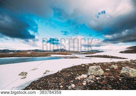 Aurlandsfjellet, Norway. Summer Norwegian Scenic Landscape Near Aurlandsfjellet Road. Scenic Route R
