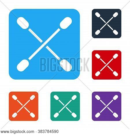 White Cotton Swab For Ears Icon Isolated On White Background. Set Icons In Color Square Buttons. Vec