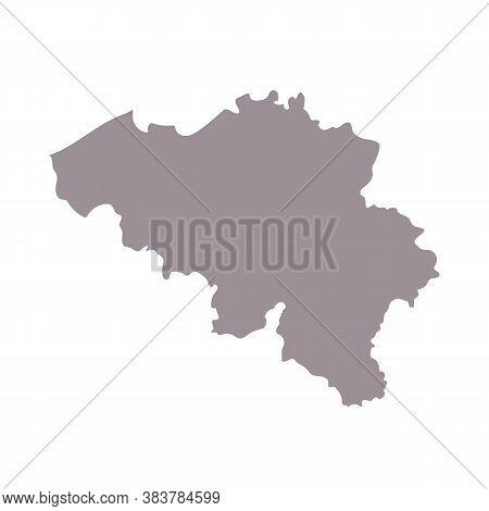 Belgium Blank Map Silhouette. High Detailed Editable Gray Map Of Belgium, European Country Borders V