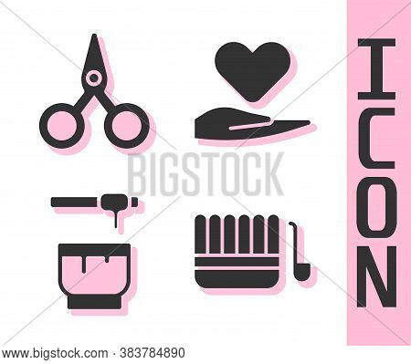 Set Sauna Bucket And Ladle, Scissors, Honey Dipper Stick And Bowl And Heart On Hand Icon. Vector