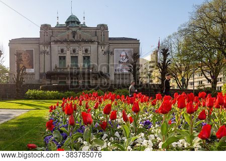 The National Stage, Or Den Nationale Scene Area In Bergen, Norway On A Sunny Day In Spring
