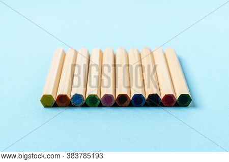 Close Up Wooden Color Pencils On Blue Background Close Up With Clipping Path.beautiful Color Pencils