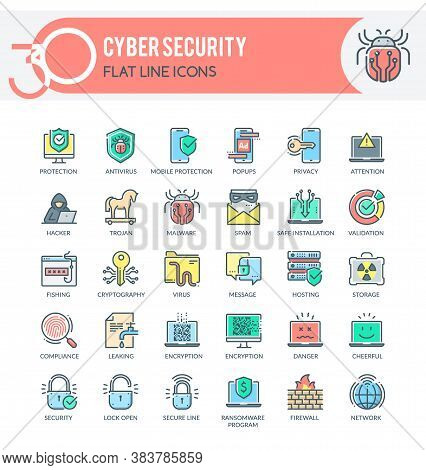 Set Of Filled Outline Multicolor Icons On Following Topics Cyber Security, Network Security And Othe