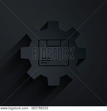 Paper Cut Gear Wheel With Package Box Icon Isolated On Black Background. Box, Package, Parcel Sign.