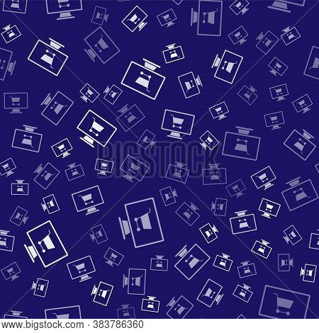 White Shopping Cart On Screen Computer Icon Isolated Seamless Pattern On Blue Background. Concept E-