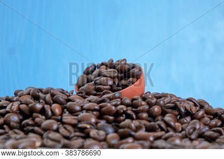 Coffee Day Background. Blue Fond. Copy Space.