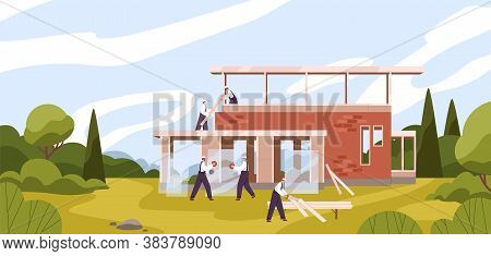Team Of Professional Builders Constructing Residential House Vector Flat Illustration. Male Workers