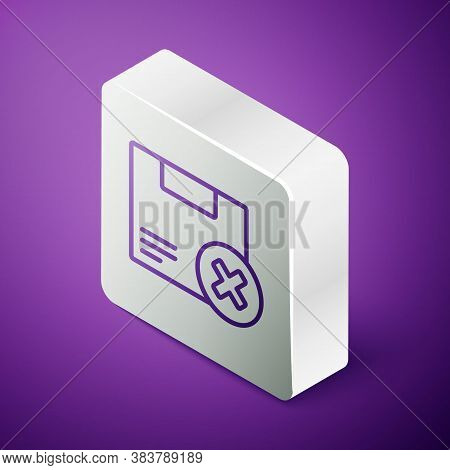 Isometric Line Carton Cardboard Box And Delete Icon Isolated On Purple Background. Box, Package, Par