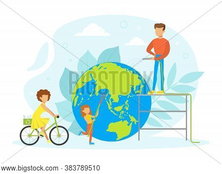 People Taking Care About Planet Ecology, Tiny Characters Cleaning And Using Eco Friendly Transport,