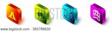Set Isometric Indian Teepee Or Wigwam, Wild West Covered Wagon, Crossed Arrows And Wild West Saloon