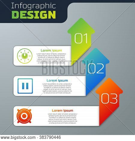Set Dial Knob Level Technology Settings, Pause Button And Stereo Speaker. Business Infographic Templ