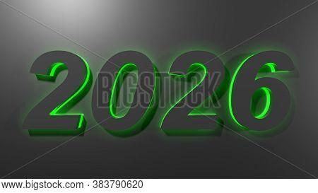 2026 Black Write On Black Surface With Green Backlight - 3d Rendering Illustration