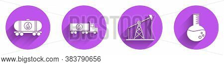 Set Oil Railway Cistern, Tanker Truck, Oil Pump Or Pump Jack And Oil Petrol Test Tube Icon With Long