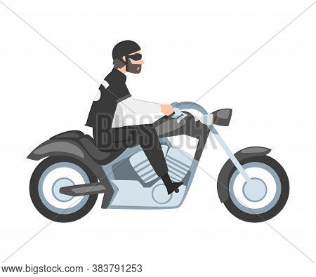 Bearded Man Riding Motorcycle, Side View Of Male Biker Character In Black Leather Clothes And Helmet