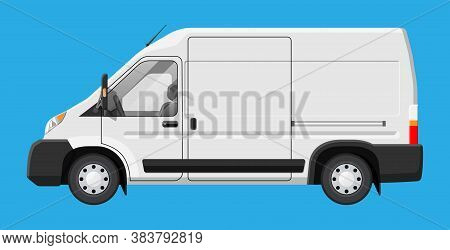 White Delivery Van Isolated On Blue Background. Express Delivering Services Commercial Truck. Concep