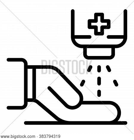 Hand Public Disinfection Icon. Outline Hand Public Disinfection Vector Icon For Web Design Isolated