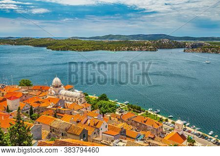 City Skyline Of Sibenik With The Cathedral Of St. James. An Ancient Town On The Dalmatian Coast Of A