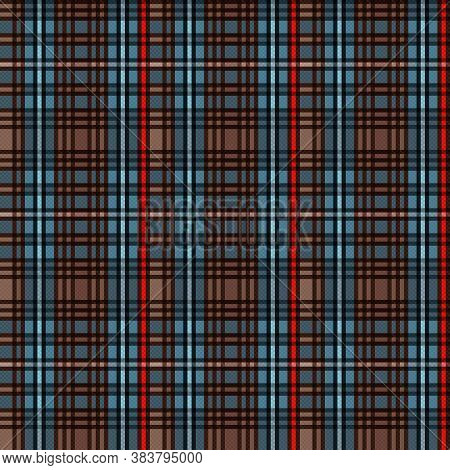 Tartan Scottish Seamless Pattern In Dark Brown, Blue And Red Colors, Texture For Flannel Shirt, Plai