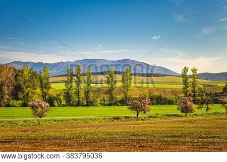 Rural Landscape With Mountains In The Background. Turiec Region, Slovakia, Europe.