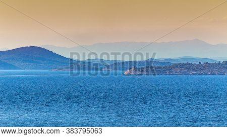 Panoramic View Of Adriatic Coast Near Primosten Town, A Popular Tourist Destination On The Dalmatian