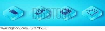 Set Isometric Paper Glass With Water, Cinema Camera, Retro Tv And Laptop With Star Icon. Vector