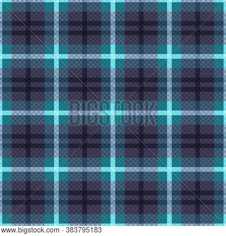 Rectangular Seamless Vector Pattern As A Tartan Plaid Mainly In Muted Blue Colors With Light Lines,