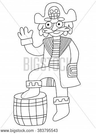 Friendly Pirate Captain Vector Coloring Page For Kids. Funny Cartoon Adult Pirate With Tricorn Skull