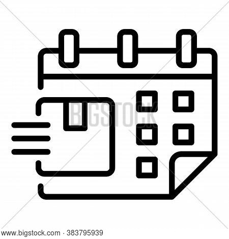 Calendar Date Home Delivery Icon. Outline Calendar Date Home Delivery Vector Icon For Web Design Iso