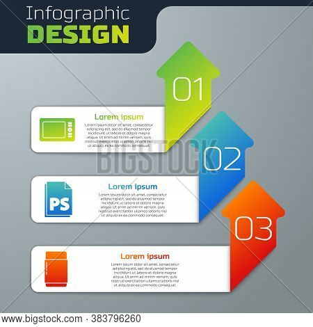 Set Graphic Tablet, Ps File Document And Eraser Or Rubber. Business Infographic Template. Vector