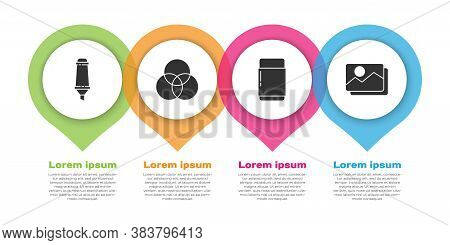 Set Marker Pen, Rgb And Cmyk Color Mixing, Eraser Or Rubber And Picture Landscape. Business Infograp