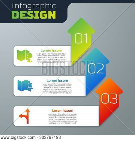 Set Folded Map With Push Pin, Folded Map With Push Pin And Road Traffic Sign. Business Infographic T
