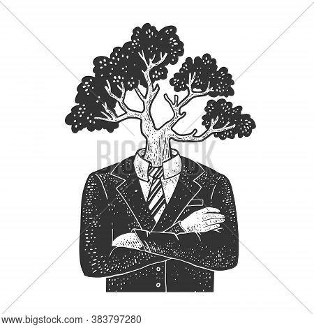 Tree Head Businessman Sketch Engraving Vector Illustration. T-shirt Apparel Print Design. Scratch Bo