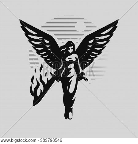 A Woman Angel With Wings Walks With A Burning Sword In Her Hands. Angel Of The Apocalypse.