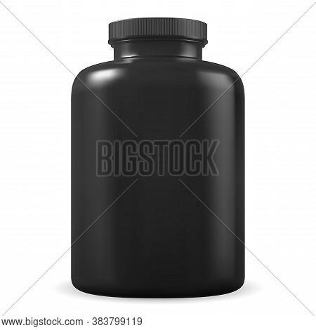 Black Supplement Bottle. Sport Protein Plastic Jar Vector Blank. Bcaa Vitamin Or Amino Acids Contain