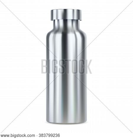 Stainless Steel Water Bottle Mockup. Reusable Thermo Flask, 3d Illustration. Outdoor Sport Product B