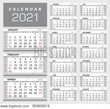 Wall Quarterly Calendar 2021 With Week Numbers. Week Start From Sunday. 14 Months. Ready For Print,