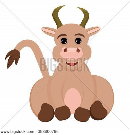 The Bull Is Isolated On A White Background. The Bull Is A Symbol Of The New Year 2021. Vector Illust