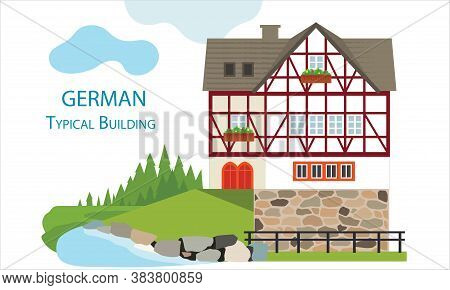 German Old Typical House. Vector Illustration. Flat Design Typical Buildings European Old Houses. Co