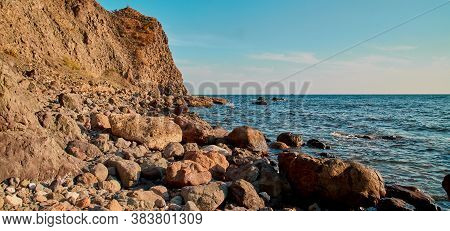 Breathtaking Ocean View. Summer Vibe Or Virgin Nature. Blue Cloudless Sky. Rocky Coastline. Sharp Cl
